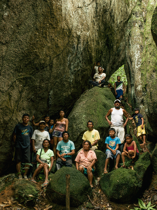 Photo Left, a group of indigenous Makuna villagers stand in the Rocas del Tigre rock formation, Vaupés. Middle, Arturo Rodriguez indigenous tribal shaman, or